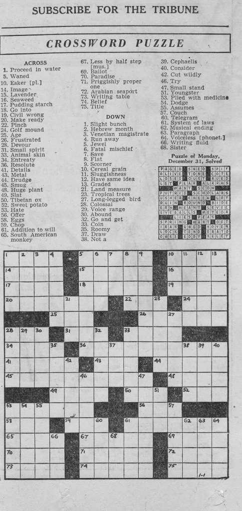 1/1/1946 Chicago Tribune Crossword Puzzle | Vintage Chicago | Printable Sudoku Chicago Tribune