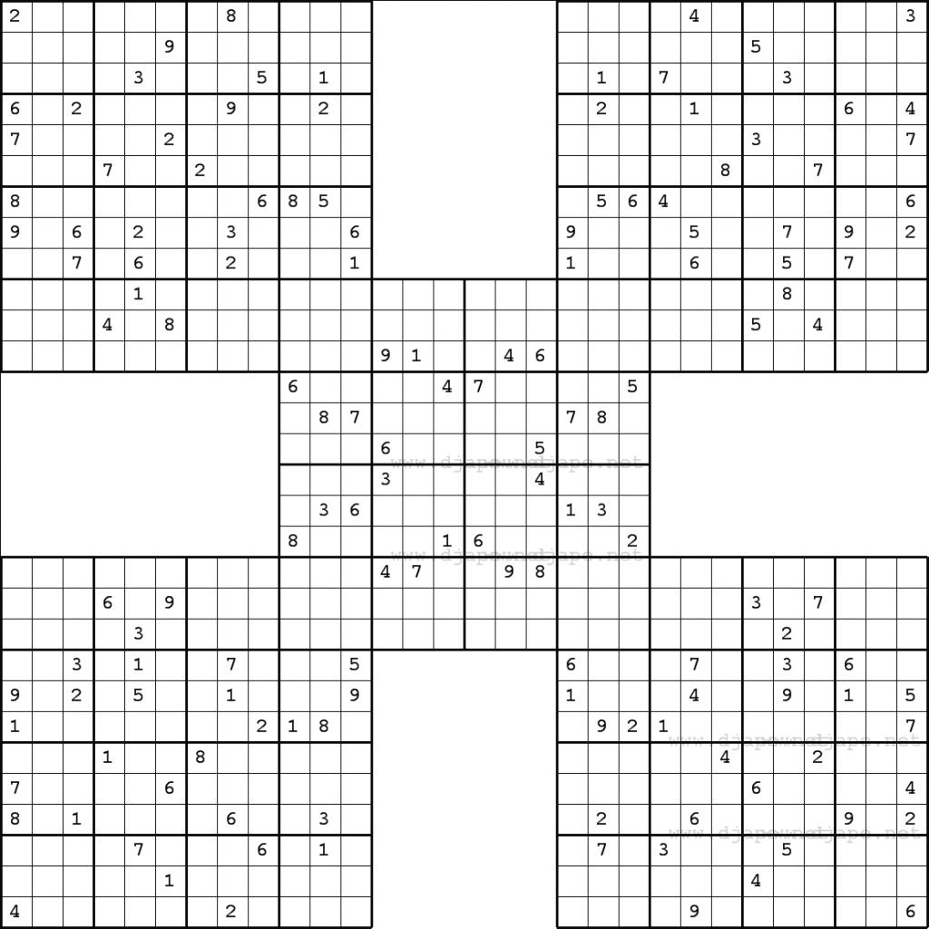 10 Best Photos Of Large Killer Samurai Sudoku Printable - Killer | Printable Samurai Sudoku Book