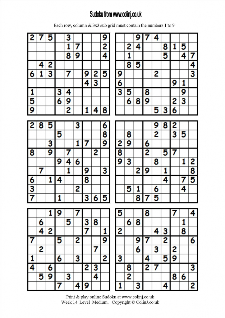 11 Best Photos Of Print Sudoku 6 - Medium Printable Sudoku 4 Per | Printable Sudoku One Per Page