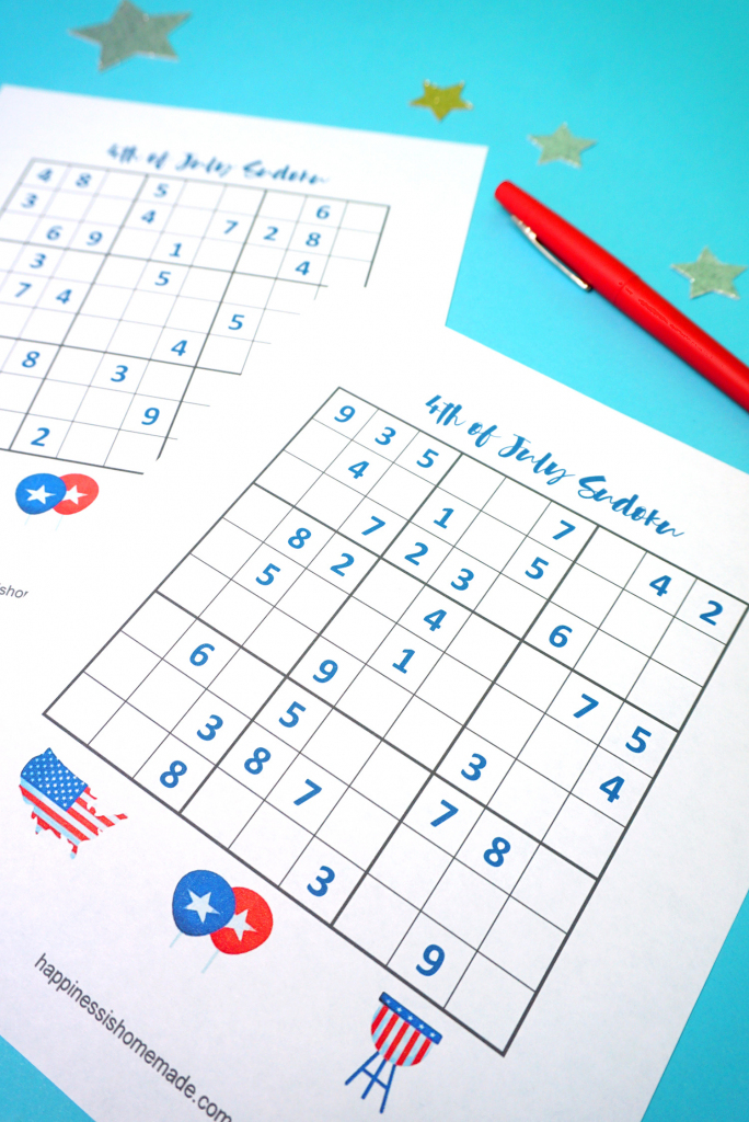4Th Of July Printable Sudoku Puzzles + Logic Puzzle - Happiness Is | Printable Sudoku 4