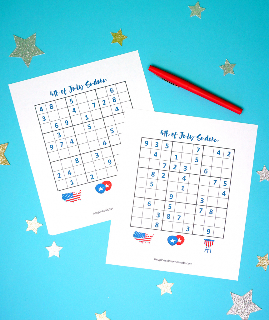 4Th Of July Printable Sudoku Puzzles + Logic Puzzle - Happiness Is | Printable Sudoku For Kids Free