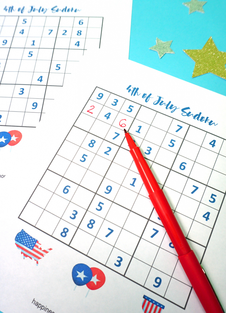 4Th Of July Printable Sudoku Puzzles + Logic Puzzle - Happiness Is | Printable Sudoku Memory