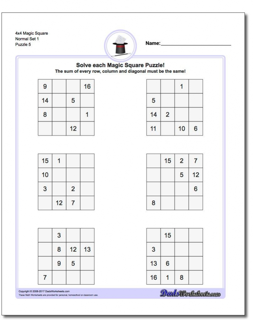 4X4 Magic Square Normal Set 1 Worksheet #magic #square #worksheet | Free Printable 4X4 Sudoku Puzzles