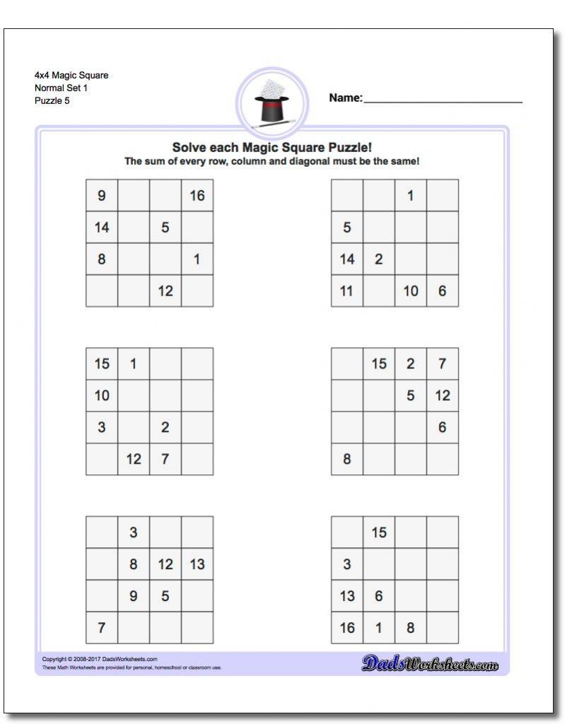 4X4 Magic Square Normal Set 1 Worksheet #magic #square #worksheet | Printable Sudoku Worksheets 4X4