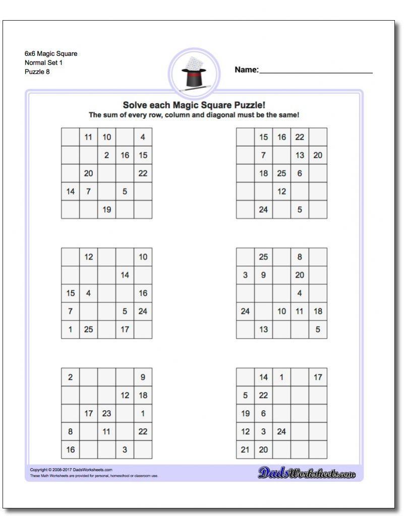 6X6 Magic Square Normal Set 1 Worksheet #magic #square #worksheet | Sudoku Printable Tes