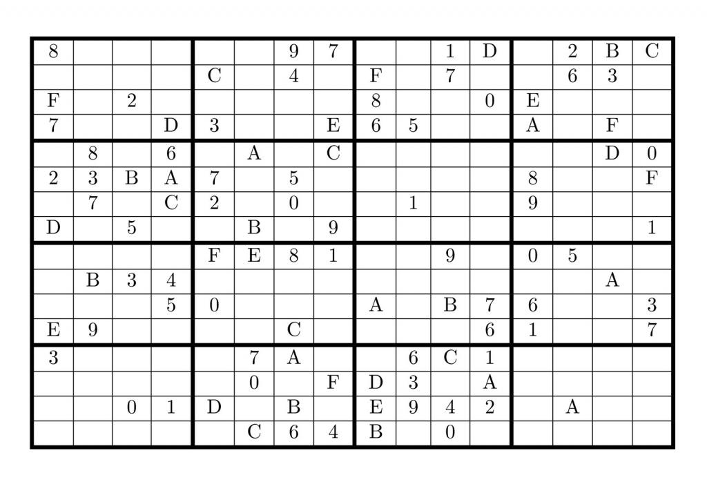 8 Best Photos Of Super Challenger Sudoku 16X16 Print - 16X16 Super | Printable Challenger Sudoku 16X16