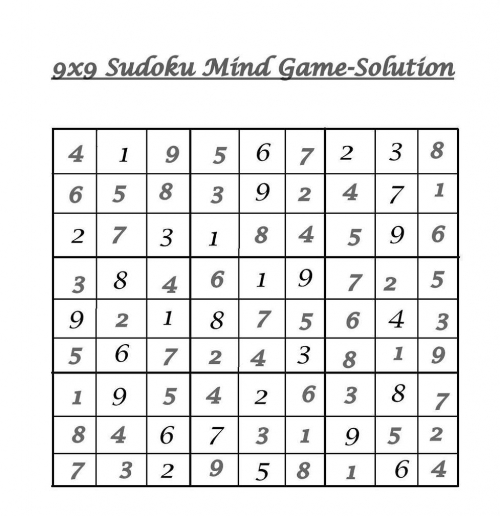9X9 Sudoku 5 - Solution | 9 X 9 Sudoku Printable