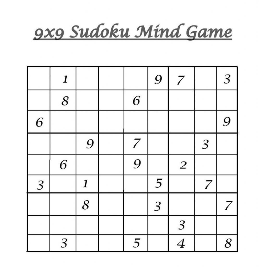 9X9 Sudoku 7 | 9 X 9 Sudoku Printable