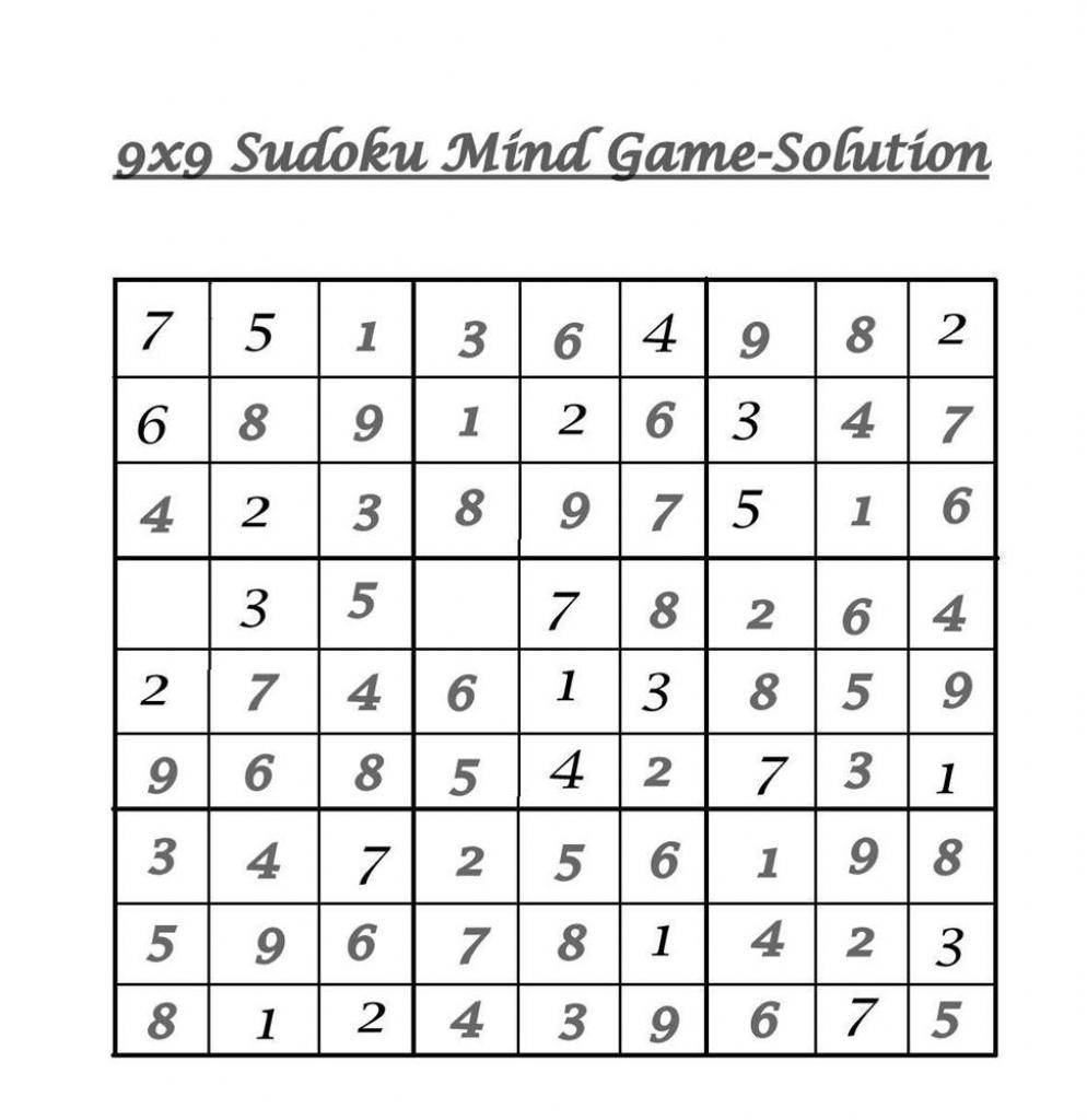 9X9 Sudoku 9 - Solution | Printable Sudoku 9X9