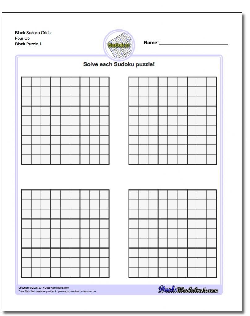 Blank Soduko - Kleo.bergdorfbib.co | Printable Sudoku Grids 2 Per Page