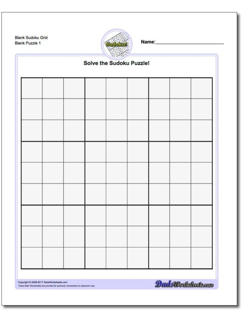 Blank Sudoku Grid | Math Worksheets | Sudoku Puzzles, Math | Printable Blank Sudoku Pdf