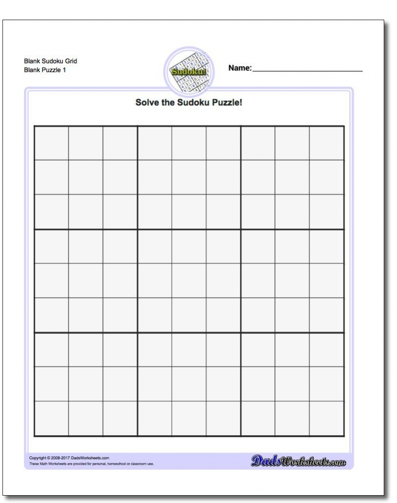 Blank Sudoku Grid | Math Worksheets | Sudoku Puzzles, Math | Printable Sudoku Blank Puzzle Form