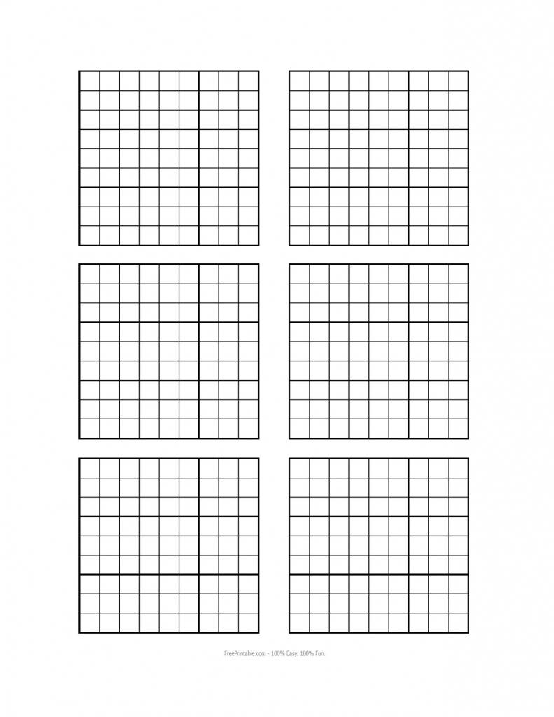 Blank Sudoku Grid - Under.bergdorfbib.co | Printable Blank Sudoku 6 Per Page
