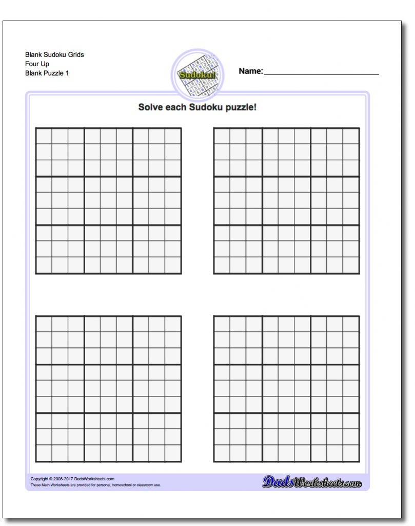 Blank Sudoku - Under.bergdorfbib.co | Printable Sudoku Blank