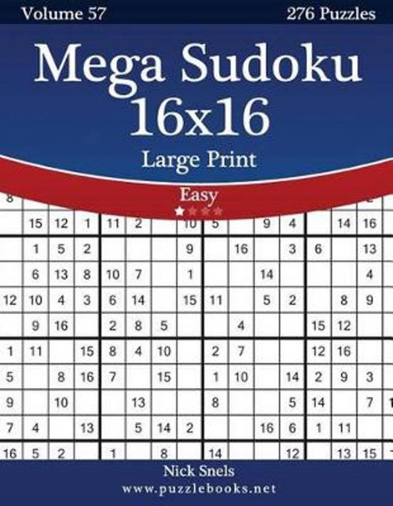 Bol | Mega Sudoku 16X16 Large Print - Easy - Volume 57 - 276 | Printable Sudoku 16*16
