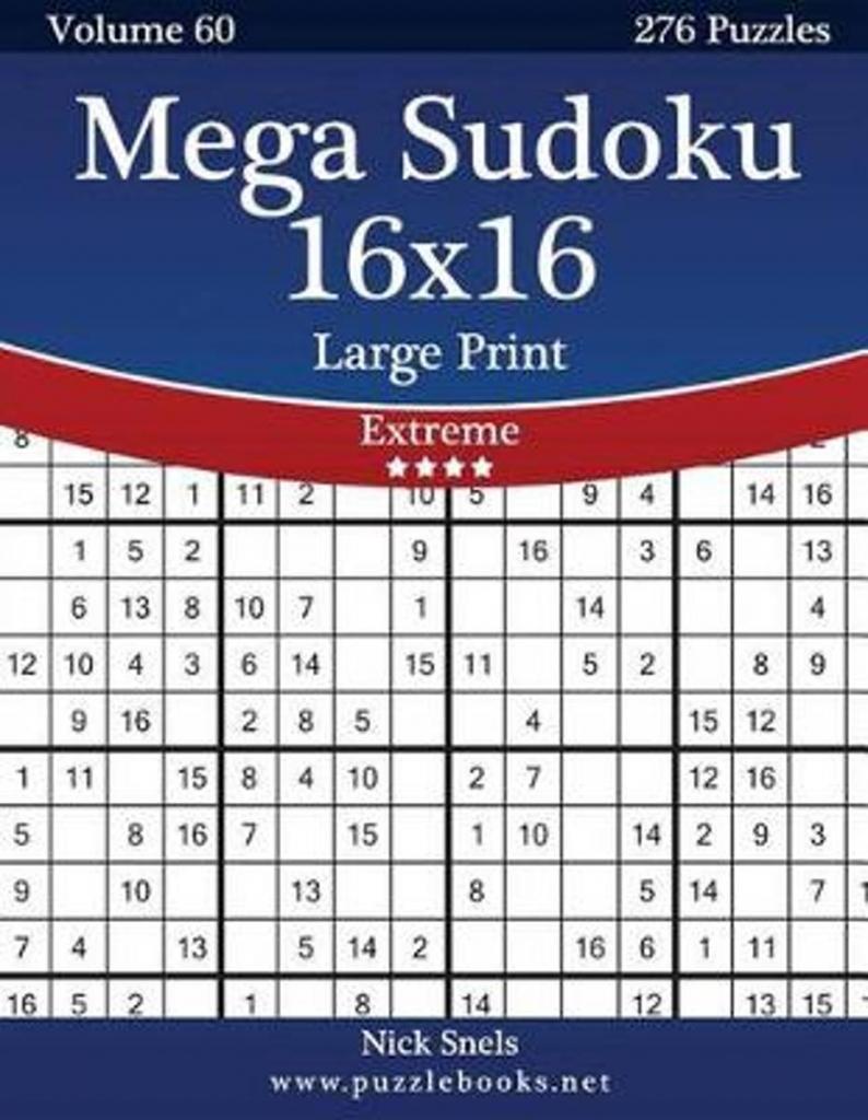 Bol | Mega Sudoku 16X16 Large Print - Extreme - Volume 60 - 276 | Printable Mega Sudoku 16X16