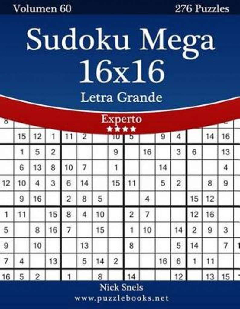 Bol | Sudoku Mega 16X16 Impresiones Con Letra Grande - Experto | Printable Mega Sudoku 16X16
