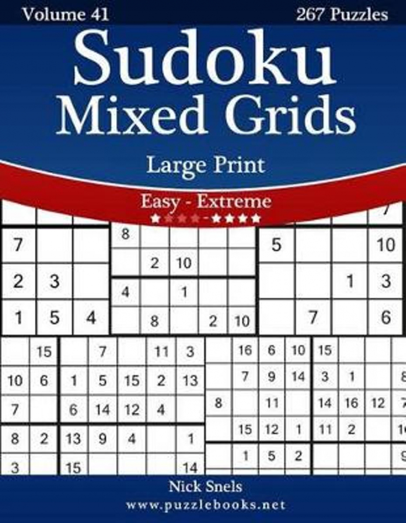 Bol | Sudoku Mixed Grids Large Print - Easy To Extreme - Volume | Printable Sudoku 16X16 Numbers Only