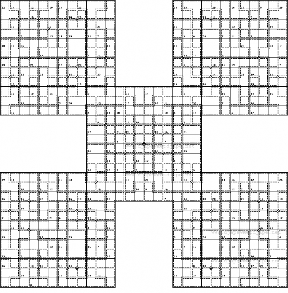 Butterfly Killer Samurai Sudoku | Printable Samurai Sudoku Download