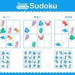 Children's Sudoku Puzzle With Colorful Cartoon Ocean Animals | Printable Sudoku Puzzles Hard Cliparts