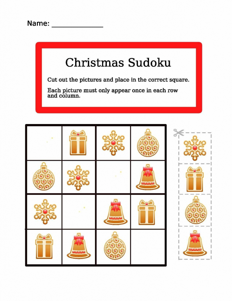 Christmas Easy Picture Sudoku Worksheet | Free Printable Puzzle Games | Printable Christmas Sudoku Puzzles