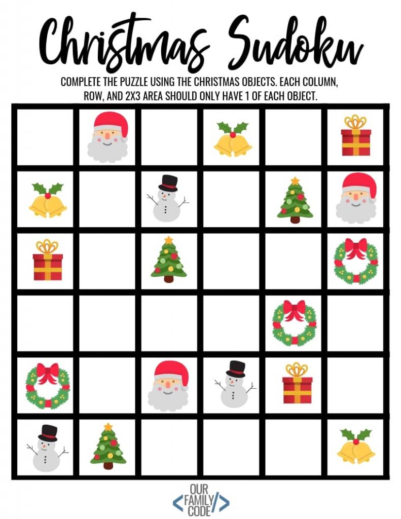 Christmas Sudoku Logical Reasoning Activity For Kids | Printable Sudoku 2X2