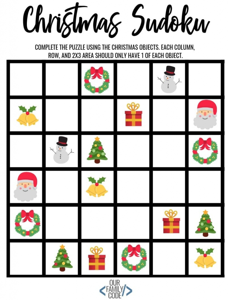 Christmas Sudoku Logical Reasoning Activity For Kids | Printable Sudoku Christmas