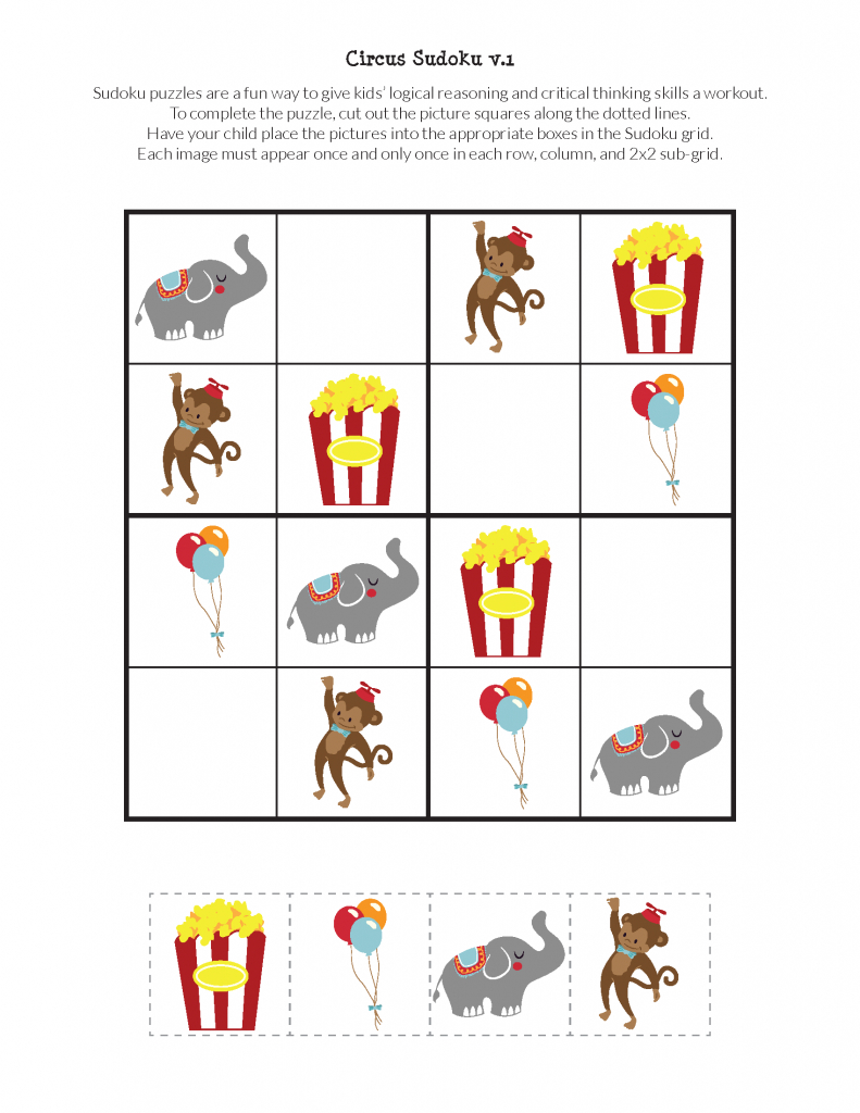 Circus Sudoku {Free Printables} - Gift Of Curiosity | Printable Children's Sudoku Free