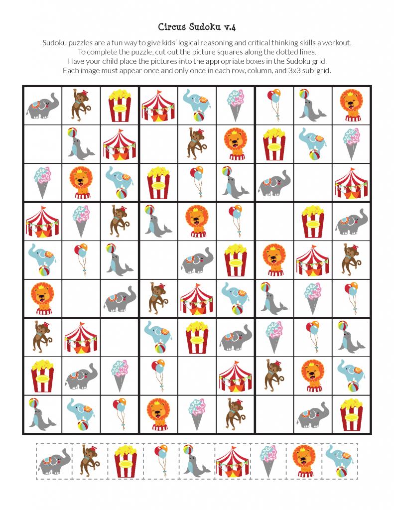 Circus Sudoku {Free Printables} | Material_1 - Circus Crafts, Sudoku | Printable Sudoku Kids