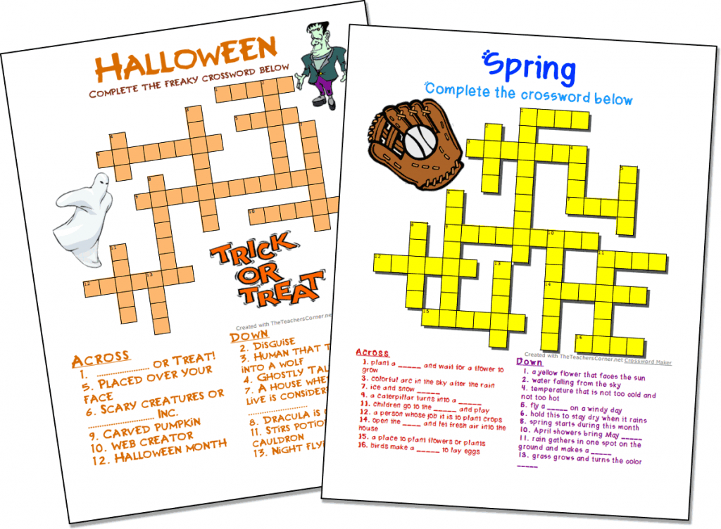 Crossword Puzzle Maker | World Famous From The Teacher's Corner | Printable Sudoku Teachers Corner