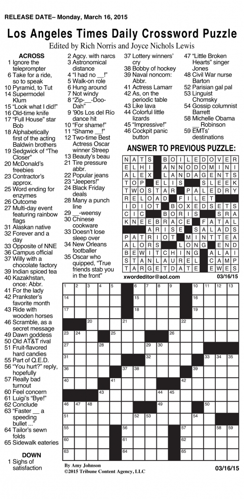 Crosswords Archives | Tribune Content Agency | Printable La Times Sudoku