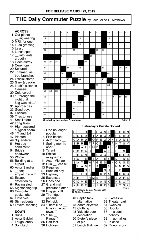 Crosswords Archives | Tribune Content Agency | Printable Sudoku Chicago Tribune