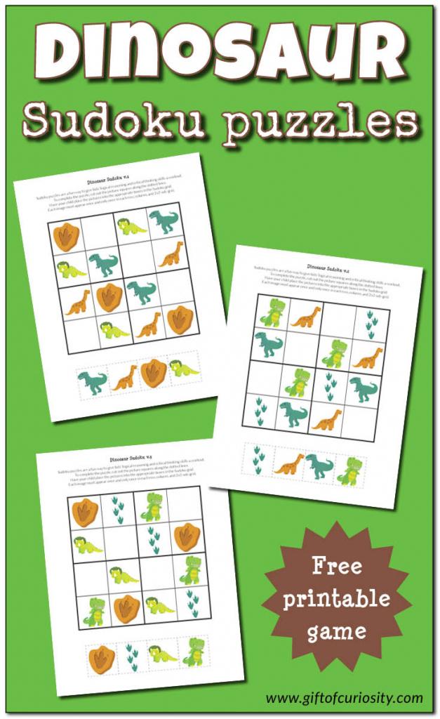 Dinosaur Sudoku Puzzles {Free Printables} - Gift Of Curiosity | Free Printable Thanksgiving Sudoku