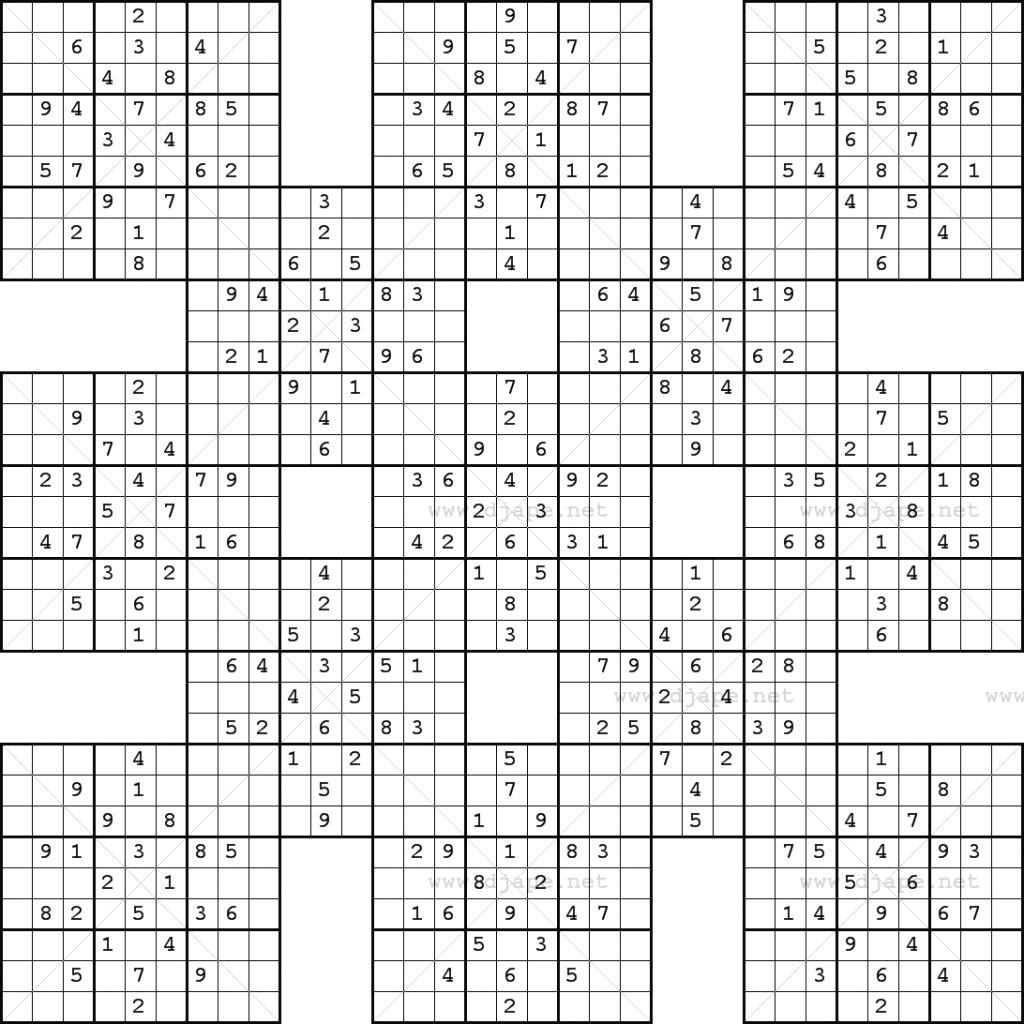 Double Harakiri Sudoku X | Printable Sudoku Puzzles Samurai