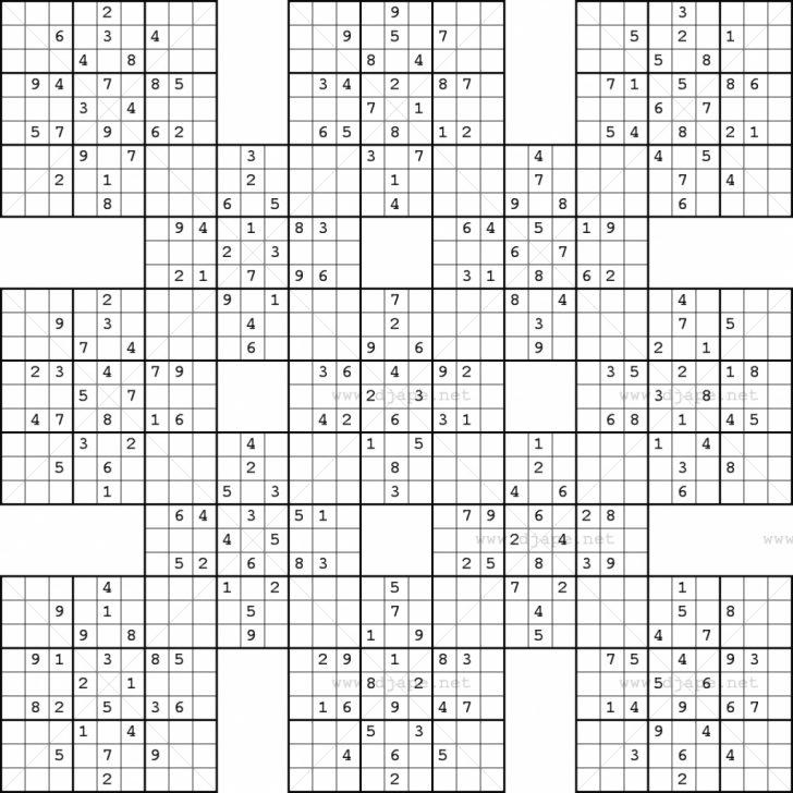 Printable Sudoku Samurai