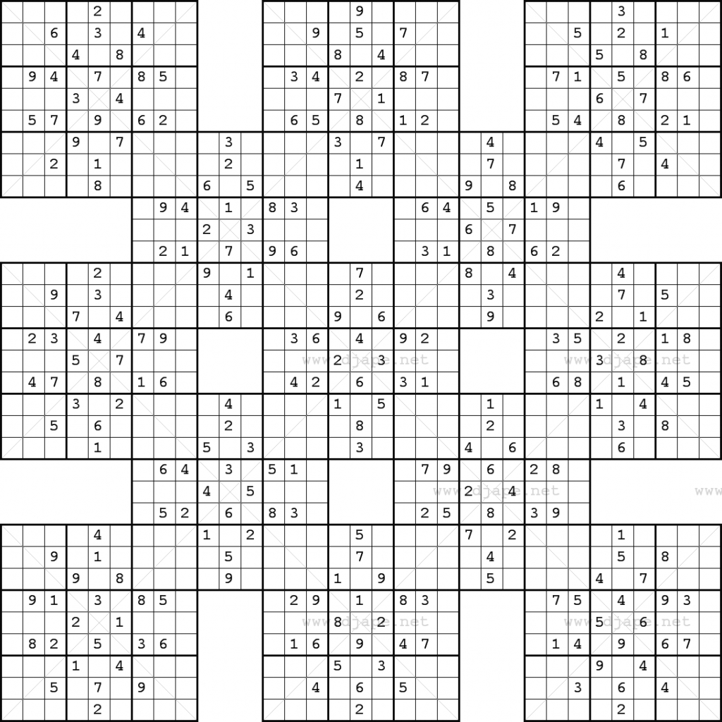Double Harakiri Sudoku X | Printable Super Sudoku