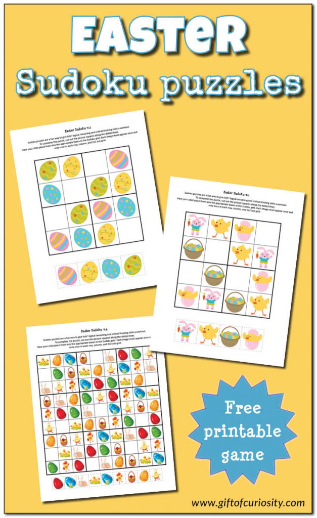Easter Sudoku {Free Printables} - Gift Of Curiosity | Free Printable Thanksgiving Sudoku