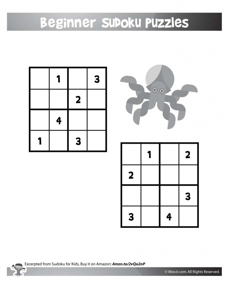 Easy Level 4X4 Sudoku For Kids | Woo! Jr. Kids Activities | Printable Sudoku 4X4
