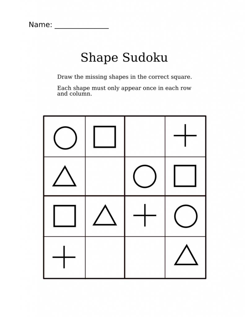 Easy Shapes Sudoku For Kindergarteners | Sudoku Activity Worksheets | 4 Sudoku Printable