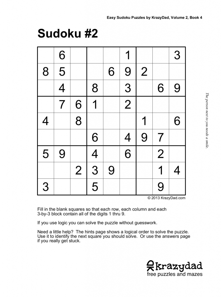 Easy Sudoku Puzzleskrazydad, Volume 2, Book 4 Pages 1 - 10 | Printable Sudoku 1Sudoku