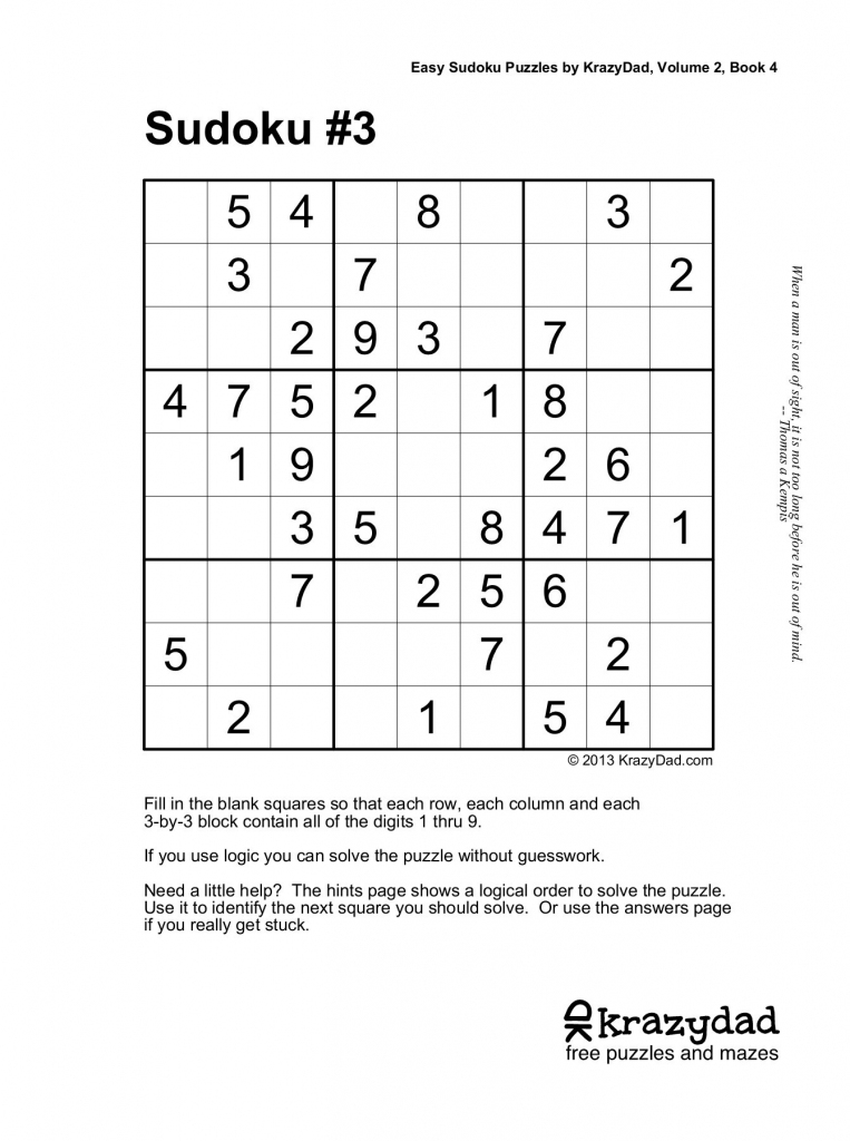 Easy Sudoku Puzzleskrazydad, Volume 2, Book 4 Pages 1 - 10 | Printable Sudoku By Krazydad