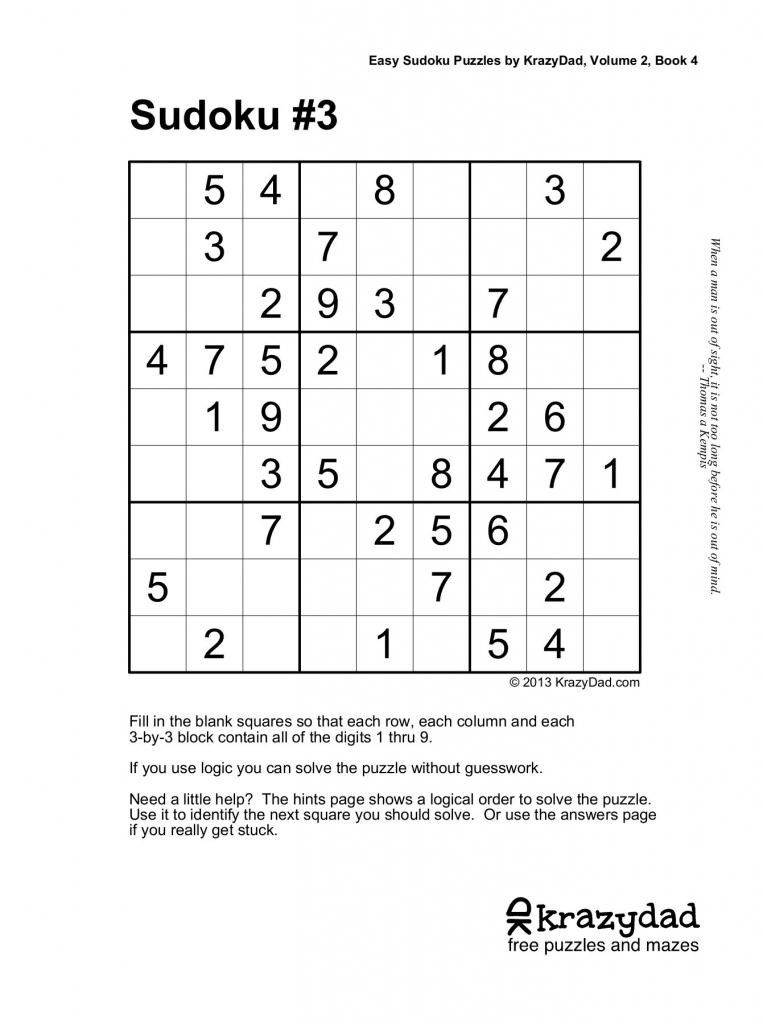 Easy Sudoku Puzzleskrazydad, Volume 2, Book 4 Pages 1 - 10 | Printable Sudoku By Krazydad