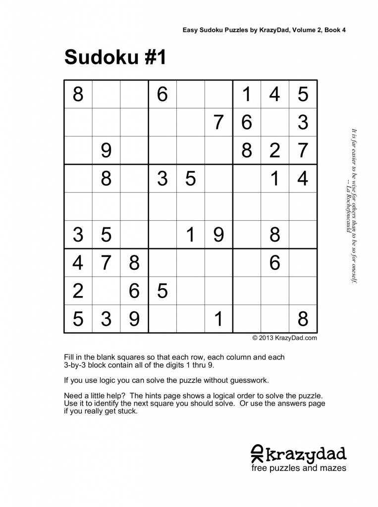 Easy Sudoku Puzzleskrazydad, Volume 2, Book 4 Pages 1 - 10 | Printable Sudoku Puzzles Krazydad
