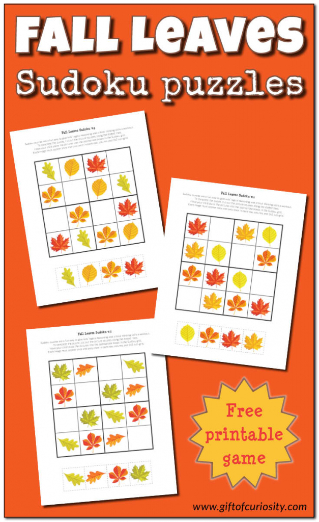 Fall Leaves Sudoku {Free Printable} - Gift Of Curiosity | Printable Sudoku Kids