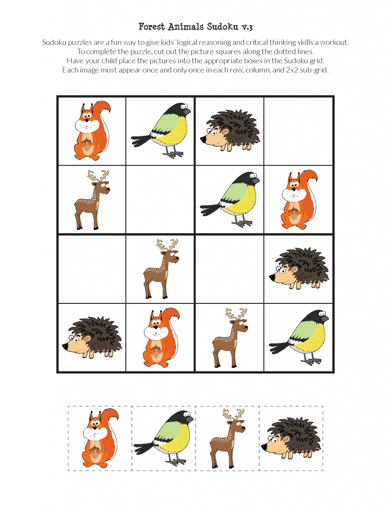 Forest Animals Sudoku {Free Printables} - Gift Of Curiosity | Free Printable Kingdom Sudoku