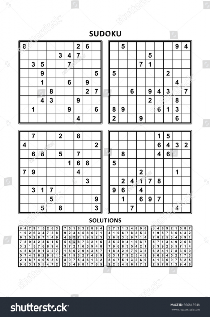 Four Sudoku Puzzles Comfortable Easy Yet Stock Vector (Royalty Free | Sudoku Printable A4