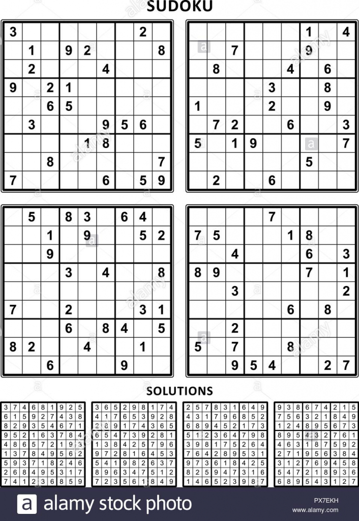 Four Sudoku Puzzles Of Comfortable (Easy, Yet Not Very Easy) Level | Large Printable Sudoku Grid
