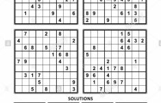 Four Sudoku Puzzles Of Comfortable (Easy, Yet Not Very Easy) Level | Printable Sudoku 4 Per Page