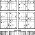 Four Sudoku Puzzles Of Comfortable (Easy, Yet Not Very Easy) Level | Printable Sudoku 4 Per Page With Answers