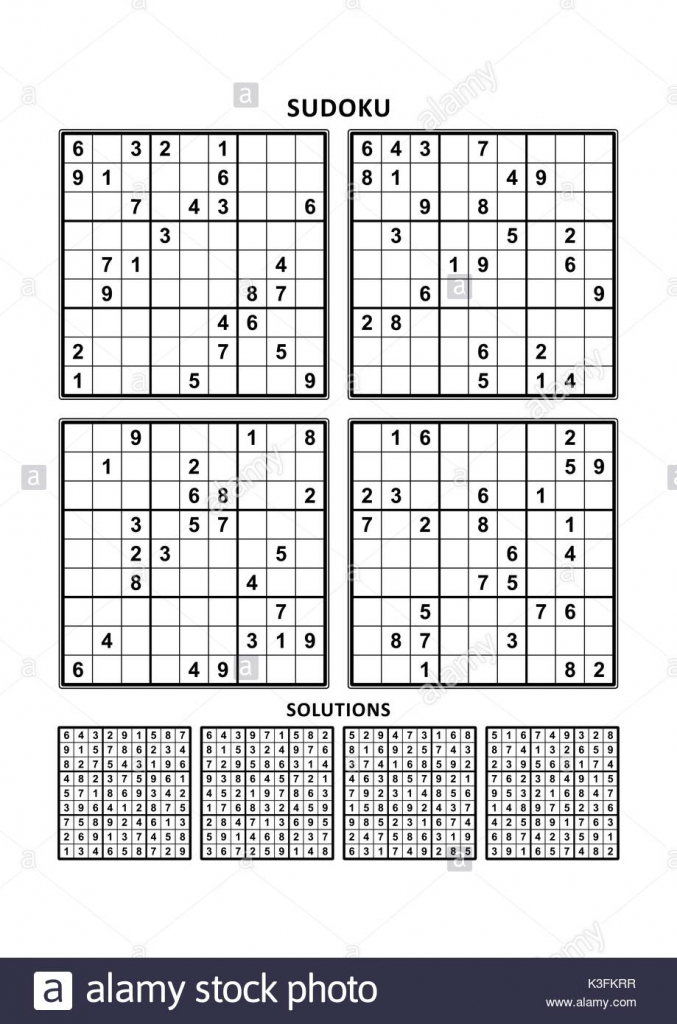 Four Sudoku Puzzles Of Comfortable (Easy, Yet Not Very Easy) Level | Printable Sudoku Level 1